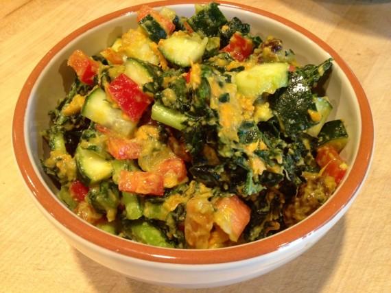 Sweet Potato Kale Salad – Raw Vegan Transition Recipe