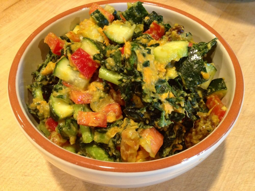 Sweet Potato Kale Salad – Raw Vegan Transition Recipe
