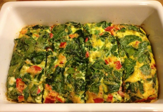 Yum... warm veggie-filled-frittata fresh from the oven