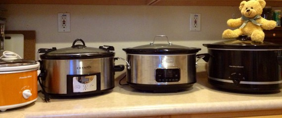 4 of my slow cookers from smallest to largest