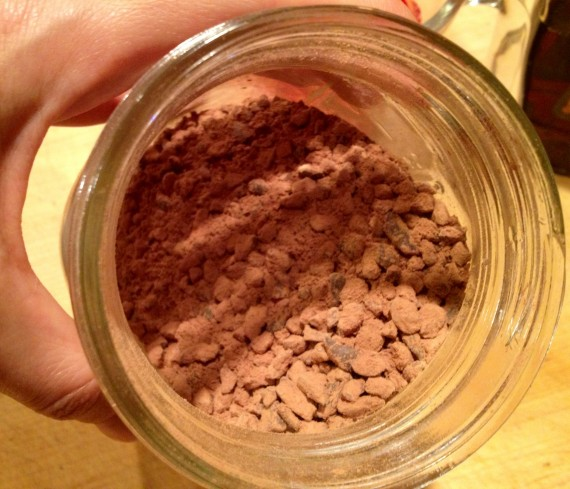 "Raw cacao nibs mixed in a jar with raw cacao ""chocolate"" powder"