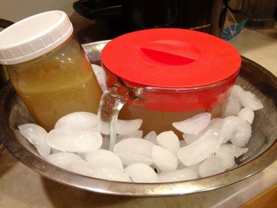 Ice bath for bone broth ready to stick in the refrigerator.