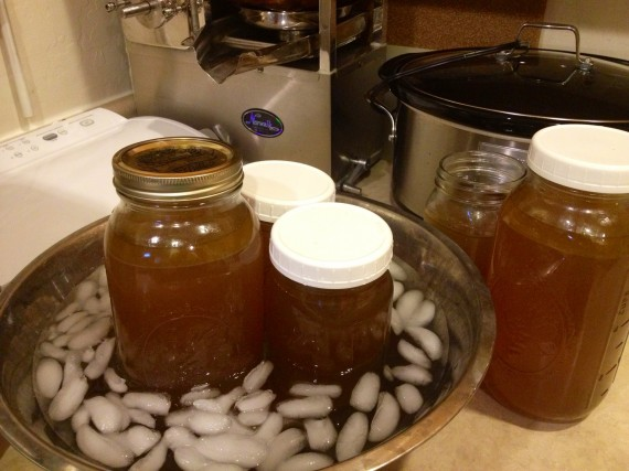 Lots of precious bone broth chilling.