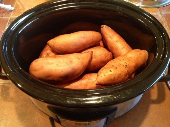 Organic sweet potatoes ready to be cooked.