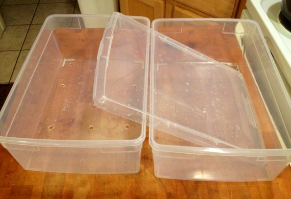 Two cheap plastic containers from The Container Store