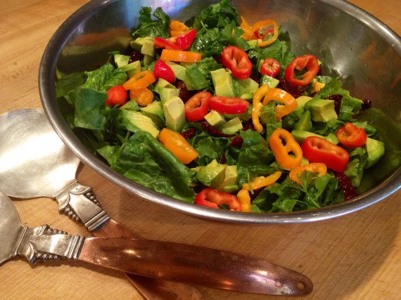 Vibrant and satisfying salad ready to be tossed.