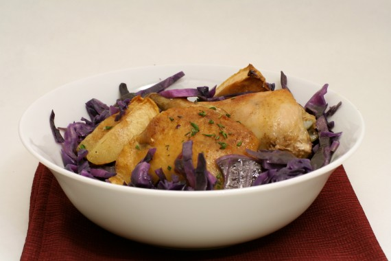 Cinnamon Apple Chicken with Buttered Purple Cabbage