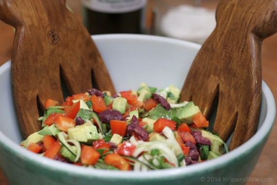 Olive n Veggie Pasta (gluten free, paleo, raw vegan)