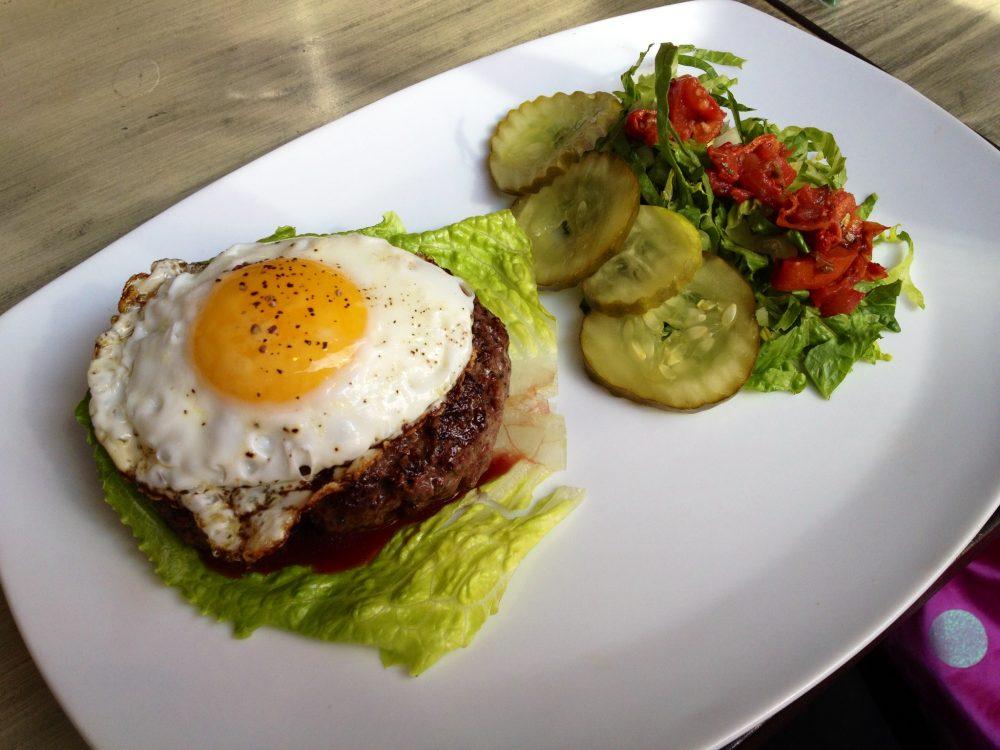 Blue Dog (NYC) Burger With Farm Fresh Egg On Top.
