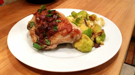 Pan Roasted Chicken Breasts w Easy Pan Sauce and green cauliflower