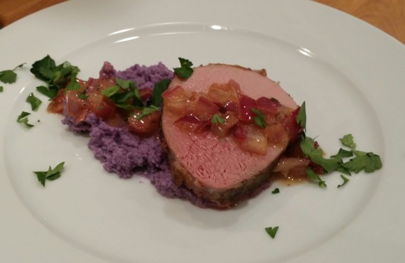 Rosemary Infused Purple Cauliflower Mash with Sous Vide Grass-fed Eye of the Round Beef .