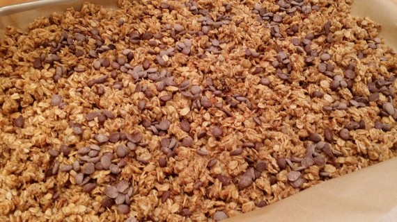 Delicious granola cooling after being cooked in the SLOW COOKER! YES!