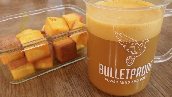 Golden Bulletproof Coffee made with fat pods.
