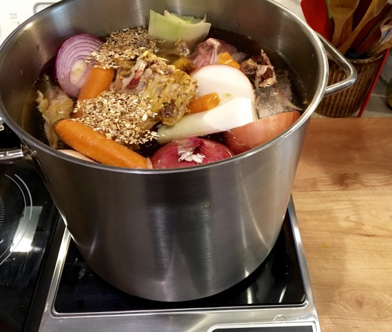 Making bone broth old-school in a stock pot. Smells so good.
