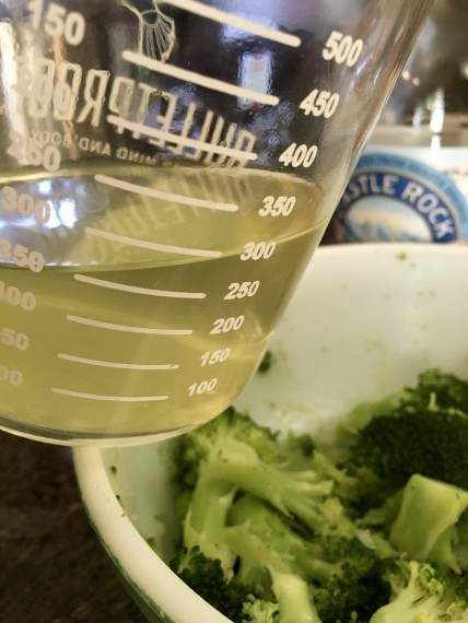 "Broccoli ""tea"" - from pressure cooking."
