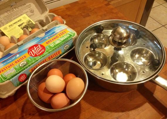 Vital Farms Eggs and Stainless Steel Egg Poacher