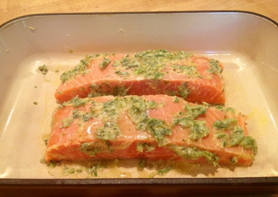 Organic Grass Fed Ghee mixture brushed on wild caught salmon