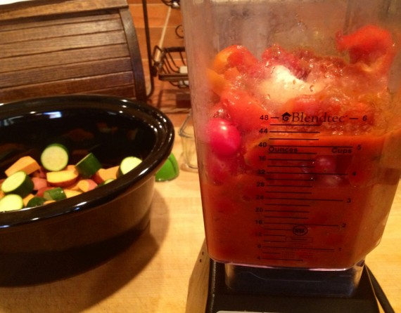 Using my mom's Blendtec. I REALLY prefer the Vitamix.