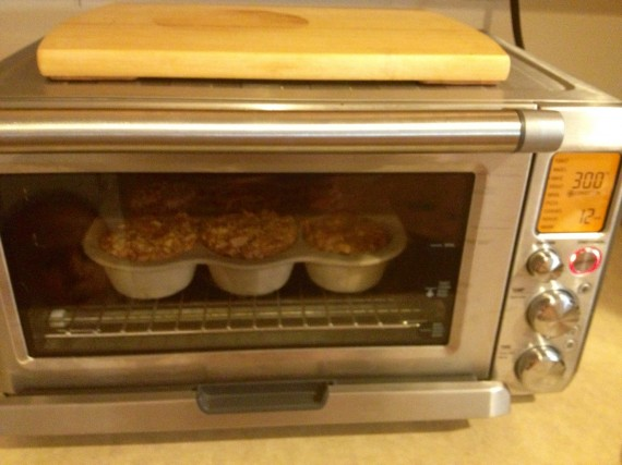 Glory Muffins baking away in my convection Breville smart oven.