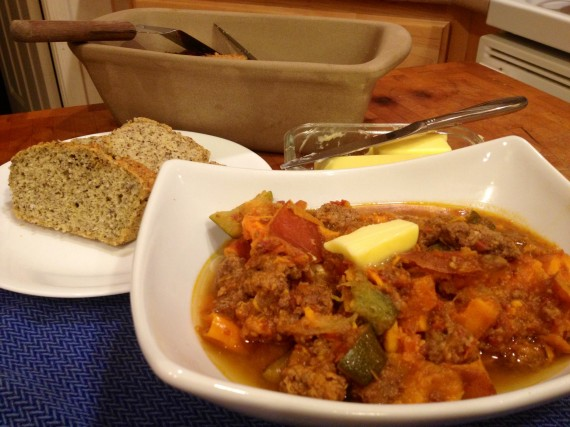 Sweet Potato Cinnamon Beef Stew with Paleo Bread