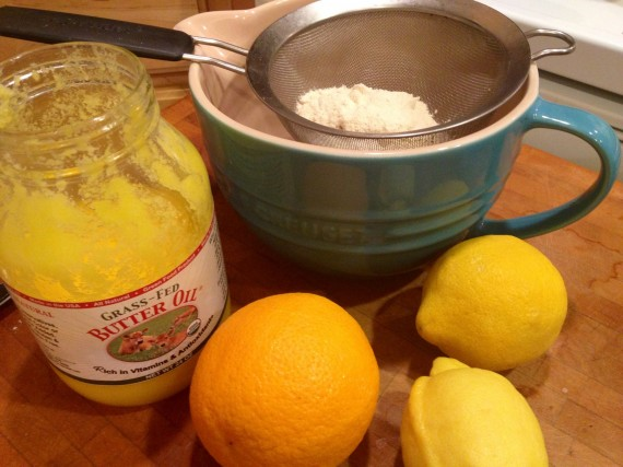 Citrus, High Vitamin Butter Oil, and dry ingredients in a bowl.