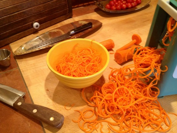 Spiralized organic carrots. Kamea loves these.