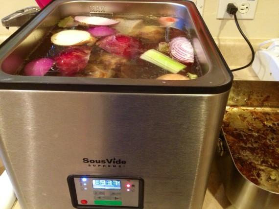 Sous Vide Supreme and roasting pan.