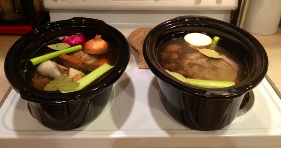 I'm using my two slow cooker inserts (7 quart and 8 quart) to put in the oven and make bone broth.
