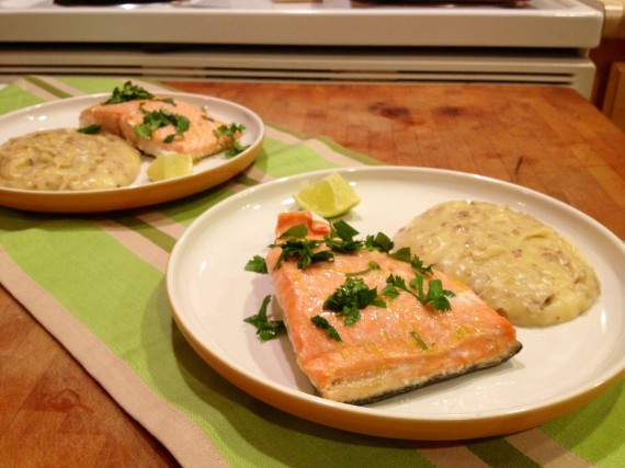 Wild caught king salmon, skin on, with cilantro instead of rosemary.