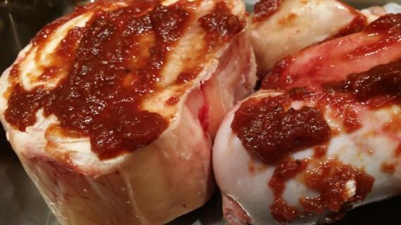 Katchkie Farm Tomato Jam and Alderspring Ranch Grass-Fed bones pre-roasting.