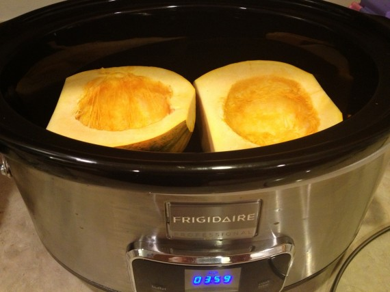 Organic acorn squash ready to be cooked in my slow cooker.