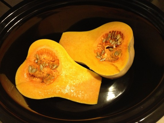 Butternut Squash in my slow cooker.