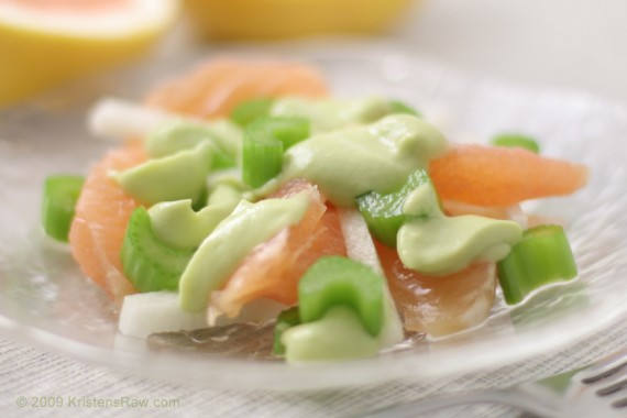Grapefruit-Jicama Salad w Avocado Dressing #Recipe