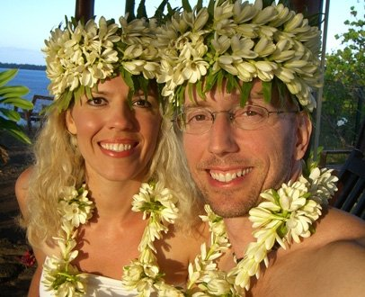 Greg and I on our wedding day in Bora Bora