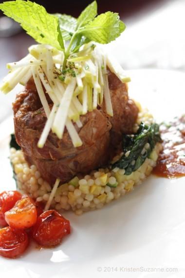Berkshire Pork Osso Bucco, Israeli Couscous, Apple Salad, Marsala Tomato Sauce #CoyoteCafe