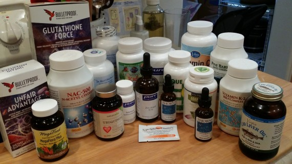 "A snapshot of my supplement and vitamin ""collection"" for lack of a better word."