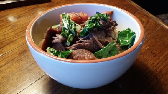 Left over pot roast on top of bok choy. Added a couple raisins for fun.