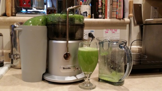 My 1st juice: cucumbers, celery, fennel fronds, mint, lemon.