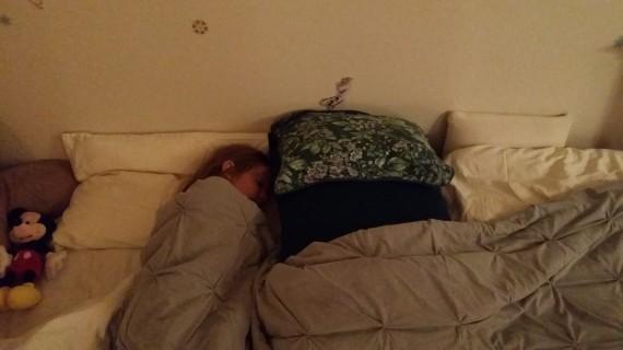 My 4yo pretending to sleep for the pic.