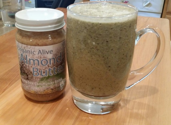 Raw Almond Butter Green-Brown Smoothie.