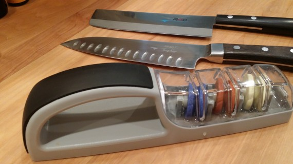 Great knife sharpener and my favorite knives. Get a good knife!