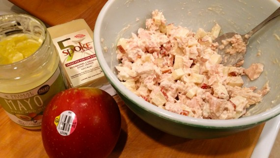 Tuna salad with apple. Delicious.