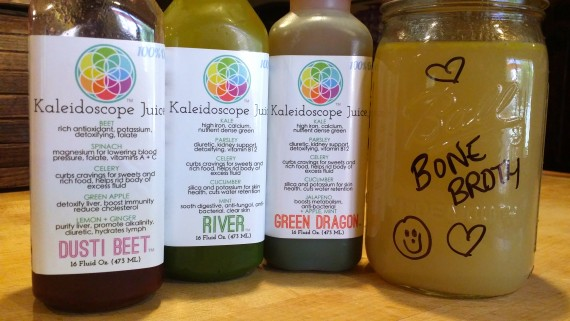 A few of my juices plus the quart of bone broth. #NourishingCleanse