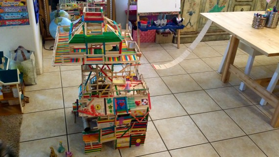 Epic fun house from popsicle sticks and creativity.