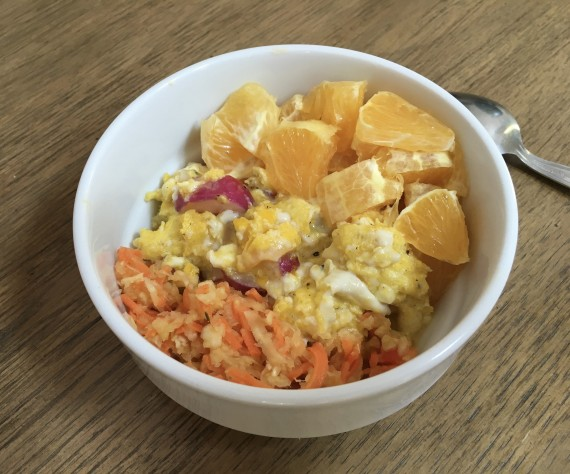 Cultured veggies, scrambled eggs and radishes, orange.