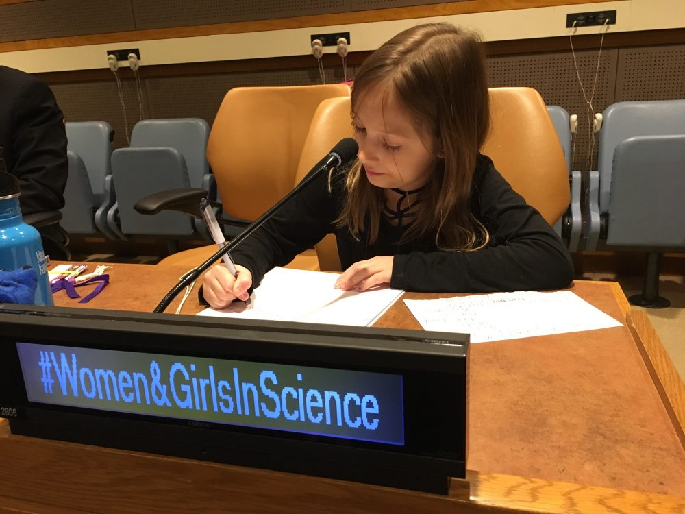 Kamea taking notes at the United Nations