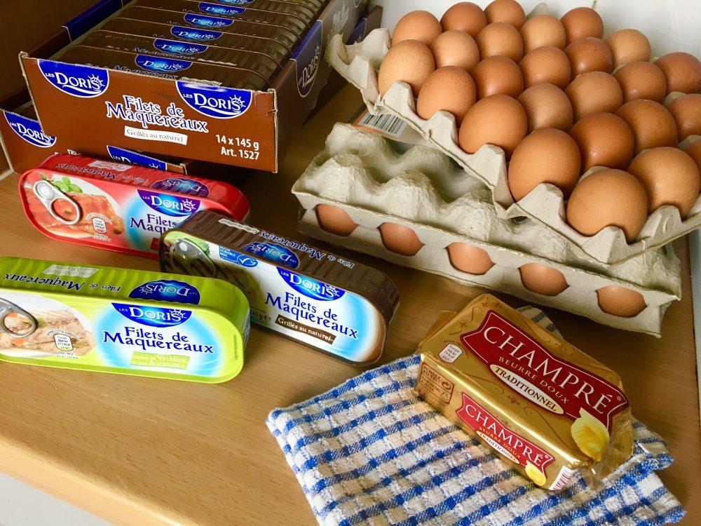 Mackerel, eggs, and butter